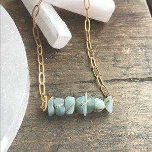 GOLD PAPERCLIP CHAIN AQUAMARINE STONES  NECKLACE